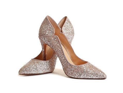 Stylish high heel shoes on white background