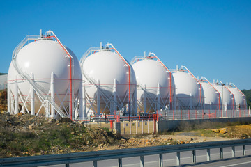 LNG or LPG storage plant, seven liquefied natural gas tanks