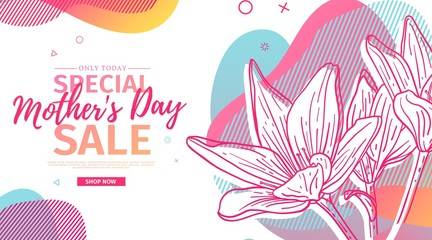 Modern Template design for Mom day banner. Promotion layout for mother's day offer with flower decoration. Line illustration  floral blossom with abstract geometric shape for sale. Vector.