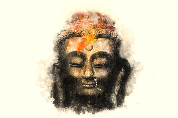 Watercolor illustration. The Buddha's face