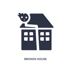 broken house icon on white background. Simple element illustration from meteorology concept.