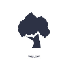 willow icon on white background. Simple element illustration from nature concept.