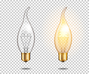 Wall Mural - Set of realistic transparent vintage light bulb with christmas tree, isolated.