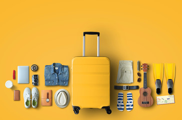 Travel concept with a large suitcase and other accessories Fototapete