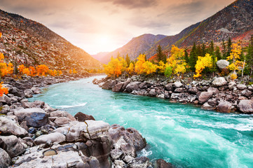 Zelfklevend Fotobehang Diepbruine Katun river in autumn mountains at sunset. Altai, Siberia, Russia