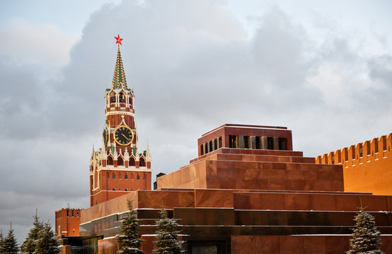Lenin's Mausoleum and Spasskaya Tower, Red square, winter, Moscow, Russia