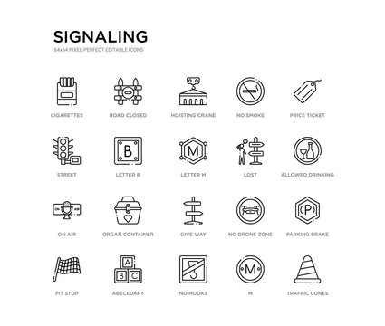 set of 20 line icons such as give way, organ container, on air, lost, letter m, letter b, street, no smoke, hoisting crane, road closed. signaling outline thin icons collection. editable 64x64