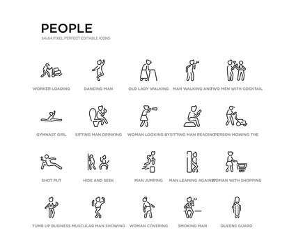 set of 20 line icons such as man jumping, hide and seek, shot put, sitting man reading, woman looking by a spyglass, sitting man drinking a soda, gymnast girl, walking and smoking, old lady walking,