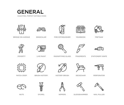 set of 20 line icons such as history brush, brush history, patch crop, fragments, magnifiying glass, live paint, poverty, yearbook, fire estinguisher, binocular. general outline thin icons