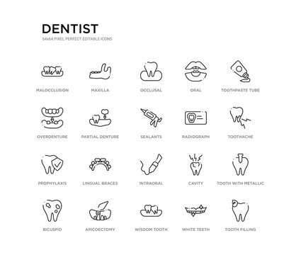 set of 20 line icons such as intraoral, lingual braces, prophylaxis, radiograph, sealants, partial denture, overdenture, oral, occlusal, maxilla. dentist outline thin icons collection. editable
