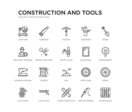 set of 20 line icons such as soil, copper, sanding machine, glass wall, relief valve, shovel and fork, mechanic working, jackknife, pickaxe, handsaw. construction and tools outline thin icons