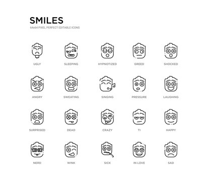 set of 20 line icons such as crazy, dead, surprised, pressure, singing, sweating, angry, greed, hypnotized, sleeping. smiles outline thin icons collection. editable 64x64 stroke