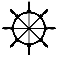 Ship's steering wheel icon. Sea icon vector design