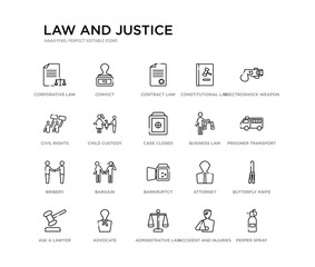 set of 20 line icons such as bankruptcy, bargain, bribery, business law, case closed, child custody, civil rights, constitutional law, contract law, convict. and justice outline thin icons