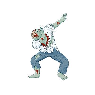 zombie walking dead man character dancing dab step
