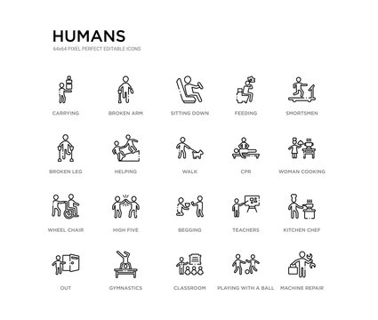set of 20 line icons such as begging, high five, wheel chair, cpr, walk, helping, broken leg, feeding, sitting down, broken arm. humans outline thin icons collection. editable 64x64 stroke