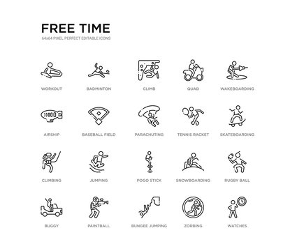 set of 20 line icons such as pogo stick, jumping, climbing, tennis racket, parachuting, baseball field, airship, quad, climb, badminton. free time outline thin icons collection. editable 64x64