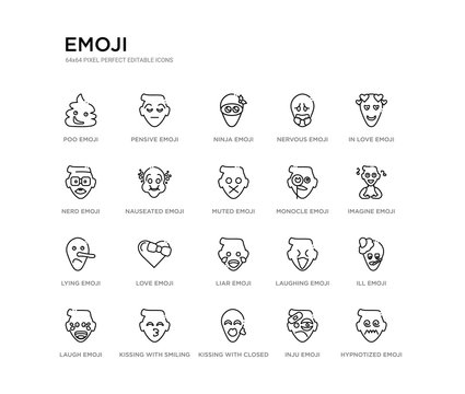 set of 20 line icons such as liar emoji, love emoji, lying emoji, monocle muted nauseated nerd nervous ninja pensive outline thin icons collection. editable 64x64 stroke