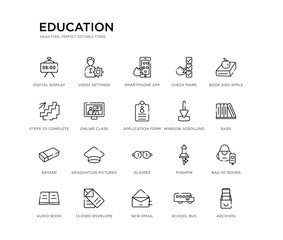 set of 20 line icons such as glasses, graduation pictures, eraser, window scrolling left, application form, online class, steps to complete, check mark, smartphone app, users settings. education