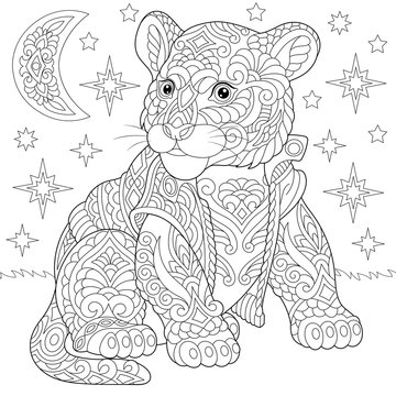 zentangle tiger baby cub coloring page