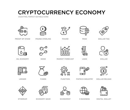 set of 20 line icons such as function, funds, ledger, loan, market forecast, node, oil economy, peso, pound, pound sterling. cryptocurrency economy outline thin icons collection. editable 64x64