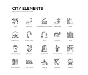 set of 20 line icons such as apartment, fountain, parking meter, pizzeria, arch, street light, fire station, cementery, government buildings, gateway. city elements outline thin icons collection.