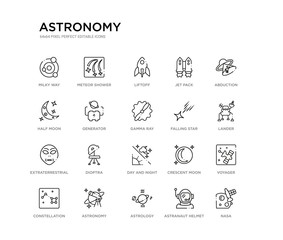 set of 20 line icons such as day and night, dioptra, extraterrestrial, falling star, gamma ray, generator, half moon, jet pack, liftoff, meteor shower. astronomy outline thin icons collection.