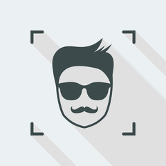 Face picture with mustaches and sunglasses