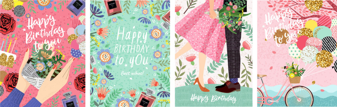 Happy Birthday! Cute vector illustration for congratulations, card, poster or banner. Set of drawn pictures for invitation