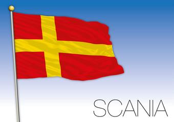 Scania regional flag, Sweden, vector illustration