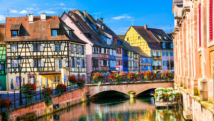 Fototapete - Colorful traditional town Colmar - tourist attraction in Alsace region, France