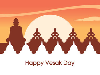 Temple Silhouette At Dawn For Vesay Day Greeting Background
