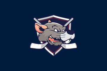rat or mouse cartoon head with shield for hockey team logo vector template
