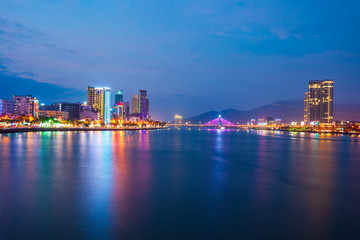 Danang city skyline aerial view