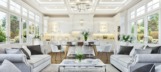 Luxurious white kitchen and living room in a luxury house