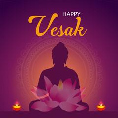 Vector illustration of a Banner for Vesak Day with Pink Lotus Flower. - Vector