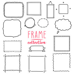 Hand drawn frame vector set. Wreath collection.