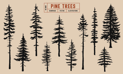 Pine tree silhouette vector illustration hand drawn Fototapete