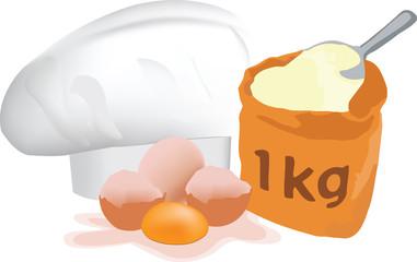 uova e farina pronto per impasto