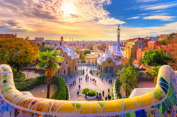 View of the city from Park Guell in Barcelona, Spain  Wall mural