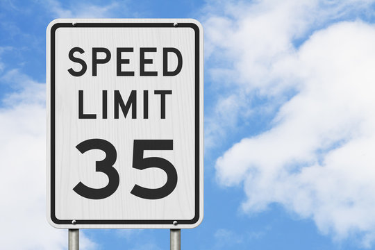 US 35 mph Speed Limit sign