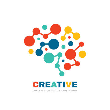 Creative idea - business vector logo template concept illustration. Abstract human brain sign. Geometric colored structure. Mind education symbol. Graphic design element.