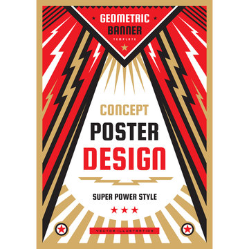 Vertical art poster template in heavy power style. National patriotism freedom vertical banner. Graphic design layout. Music rock concert concept vector illustration. Geometric abstract background.