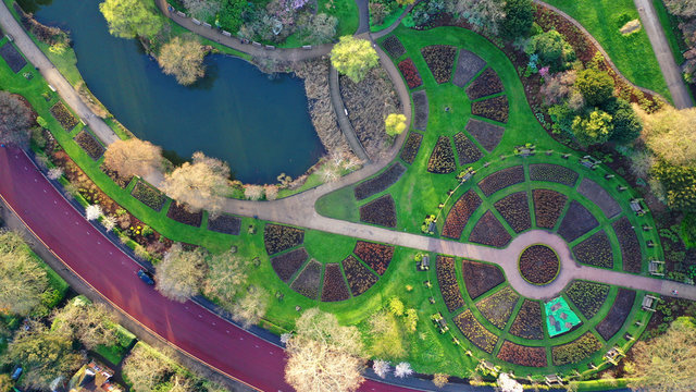 Aerial drone bird's eye view photo of famous Regent's Royal Park unique nature and Symetry of Queen Mary's Rose Gardens as seen from above, London, United Kingdom