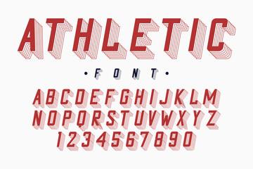 Athletic font, varsity and college alphabet. Original letters and numbers for sportswear, t-shirt, university logo. Modern typeface. Vector illustration.