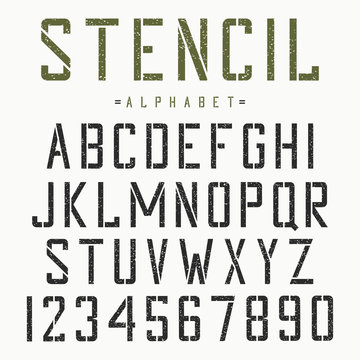 Stencil font. Alphabet and numbers for stencil-plate. Vintage grunge typeface. Vector.