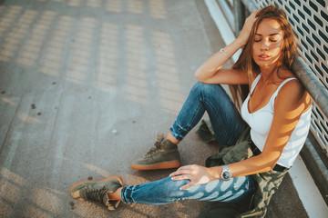 Portrait of young urban sexy woman Fotoväggar