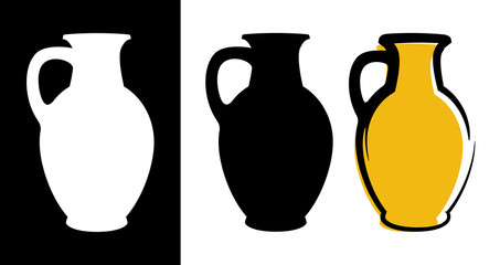 Fototapeta Vector amphora image in yellow color and silhouettes in white and black background isolated in flat style obraz