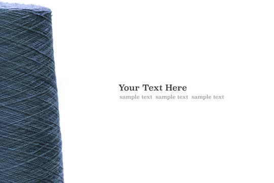 Blue azure reels of threads. web banner template background with copy space