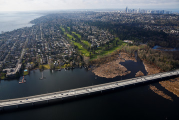 Cars drive on the Evergreen Point Floating Bridge in this aerial photo in Seattle